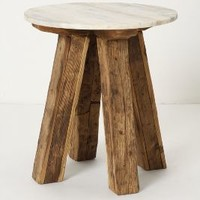 Marble-Top Side Table by Anthropologie in Brown Size: One Size Furniture