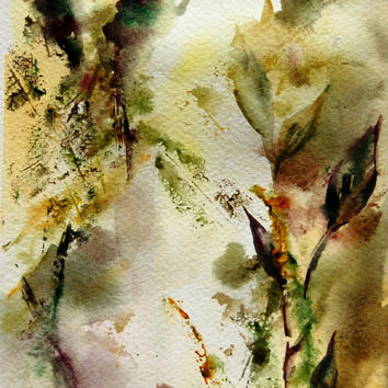 Abstract Painting. Original Watercolor Painting. Nature Intuitive Leaves. Olive Green Brown.