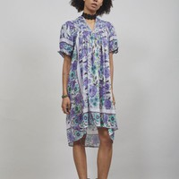 Vintage 70's mauve and jade green floral Indian boho dress - Womens Vintage | Nordicpoetry.co.uk