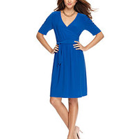 NY Collection Dress, Short Sleeve Solid Jersey Faux Wrap - Dresses - Women - Macy's