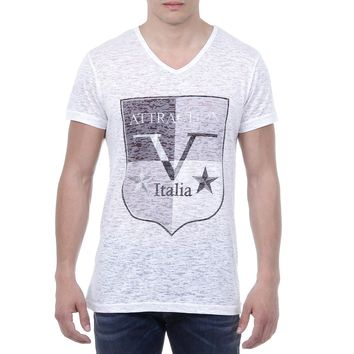V 1969 Italia Mens T-shirt Short Sleeves V-Neck White ALEXANDER