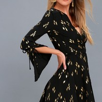 Radiant Love Black and Gold Print Wrap Dress