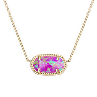 Kendra Scott: Elisa Pendant Necklace In Fuchsia Kyocera Opal