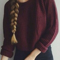 Vintage Knitted Plain Long Sleeve Crop Loose Sweater