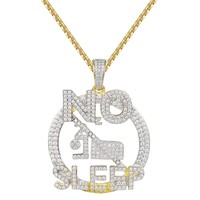 "Men's 14k Gold Finish No Sleep Iced out Pendant 24"" Chain"