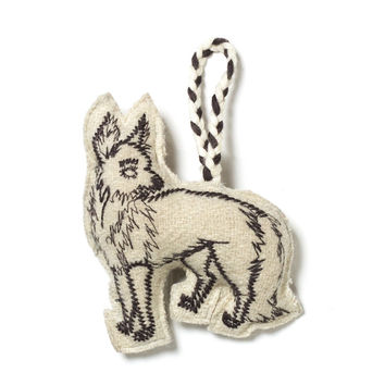 Embroidered Wolf Ornament - Ivory/Grey