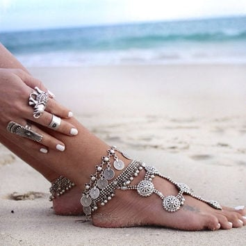 Flower Child Silver Coin Anklet Adjustable Handmade Gypsy Beachy Ethnic Turkish Bohemian (Size: 38 g, Color: Silver) [7687805062]