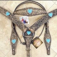 Rustic Vintage Finish Leather Horse Bridle Headstall Breast Collar Heart Concho