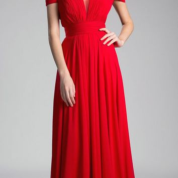 Sweetheart Neck Cold Shoulder Long Bridesmaids Dress Red