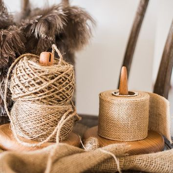 Rustic Burlap Roll and Twine String Set of 3