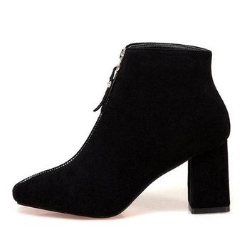 Zipper Square Solid Color High Heel Boots For Women