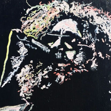 Jerry Garcia Art Grateful Dead Art Original Oil Painting 24x18 Boho Chic Decor Hippie Art Canvas Painting Pop Art Painting