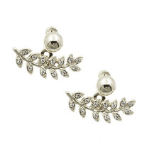 Adorn by LuLu - Leaf Ear Jackets in Silver and Sparkle