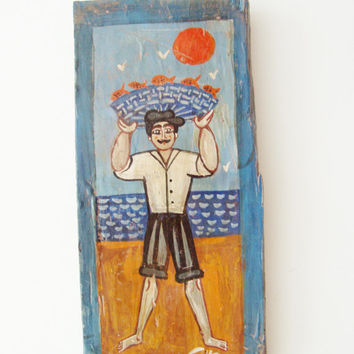 Fisherman folk painting, street fishmonger, Greek folk art fisherman, folk art on salvaged wood, vintage folk art, retro Greek fishmonger