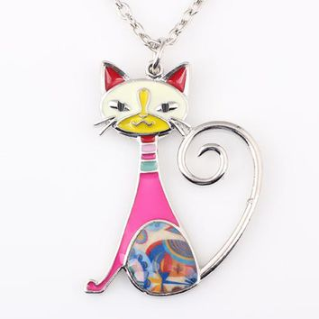 Cat Necklace Enamel Pendant Zinc Alloy Plate New Fashion Jewelry For Women Girl Statement Charm Collares Accessories