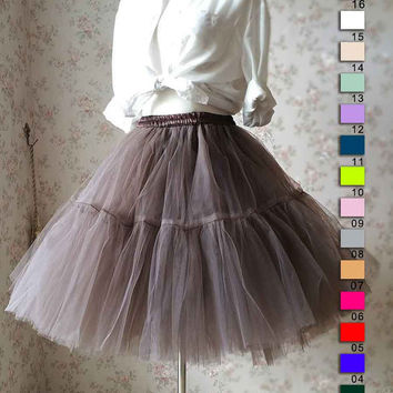 Cognac Skirt. Women Tulle Skirt. Knee Length Tulle Skirt. Princess Skirt. Elastic Circle Skirt. Bridesmaid Skirt. Crinolines. Photo Prop