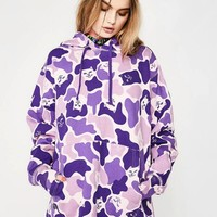 RIPNDIP Trending Women Men Stylish Purple Camouflage Pocket Long Sleeve Hooded Sweater Top Sweatshirt
