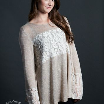 Women's Grace & Emma Wrapped in Lace Tunic in Beige