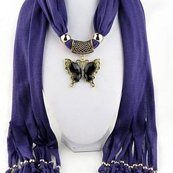 Necklaces Look tassel bead butterfly Pendant Scarf