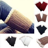 Crochet Knitted Lace Trim Boot Cuffs