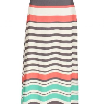 High Line Sage And Coral Striped Maxi Skirt | Monday Dress Boutique