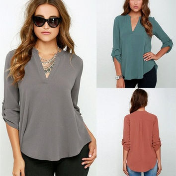 Blusas Femininas 2016 New Women V Neck Solid Chiffon Blouse Sexy lady Long Sleeve Blusa Fashion Blouses Shirt 5 Colors Tops  01-015