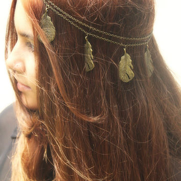 Chain Headpiece Headband Hair Piece Bohemian Hipster Boho Hippie Bronze Feather Pendant Bridal Statement Jewelry