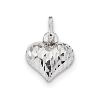 925 Sterling Silver Rhodium Plated Polished Diamond Cut Puffed Heart Charm and Pendant