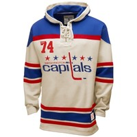 Old Time Hockey Washington Capitals Lace Jersey Hoodie - White/Royal Blue/Red
