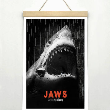 JAWS, Steven Spielberg, Original Art, Minimalist Movie Poster Print 24 x 36""