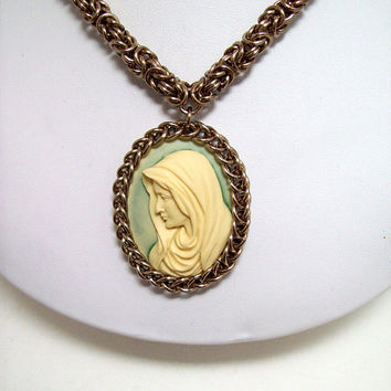 Necklace, chainmaille, cameo, jewelry, Mary, Virgin Mother, Madonna, Christian, Catholic, religious.
