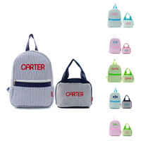 Monogrammed With Embroidery Pre-K Stripped Seersucker School Backpacks and Lunch Bags Personalized Free