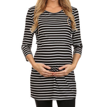 BellyMoms Black & White Stripe Maternity/Nursing Empire-Waist Tunic | zulily
