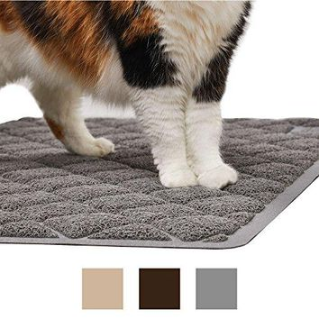 "The Original  Large Premium Cat Litter Mat, Phthalate & BPA Free, 35""x23"", Traps Kitty Litter from Box and Paws, Soft on Paws, Easy to Clean, Durable. (Large: Gray)"