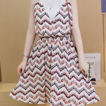 Streetstyle  Casual Zigzag Striped Round Neck Elastic Waist Skater Dress
