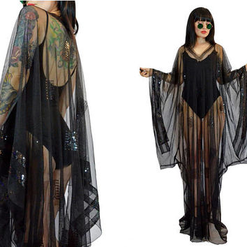 vintage 80s 90s sheer black mesh kimono maxi dress SEQUIN glam ultra draped gothic grunge witchy VAMP avant gard OSFM one size fits most