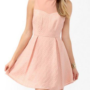 Pleated Brocade Dress   FOREVER 21 - 2019572830