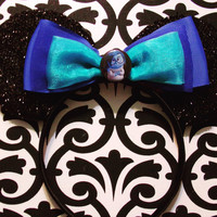 Inside Out Sadness inspired Black Sparkle Minnie Mouse Headband Ears