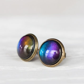 Blue Sunset Glass Earrings - Color Shifting Studs