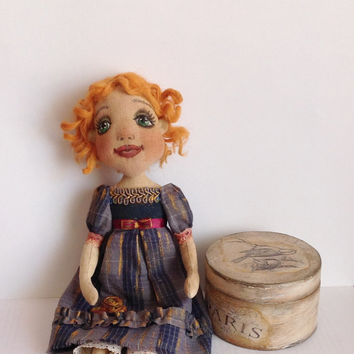 Cloth doll- Cloth art doll-Art doll -OOAK doll-Textile dolls-Collecting doll-Stuffed doll- Fabric doll-Soft doll-Doll-Rag doll-Cotton doll