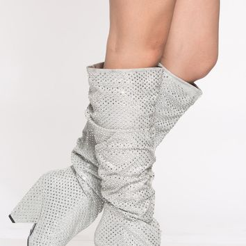 Silver Rhinestone Slouch Knee High Boots @ Cicihot Boots Catalog:women's winter boots,leather thigh high boots,black platform knee high boots,over the knee boots,Go Go boots,cowgirl boots,gladiator boots,womens dress boots,skirt boots.