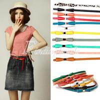 Sweet Woman's Candy Color Fashion Bowknot PU Leather Thin Skinny Waistband Belt