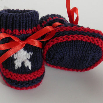Cool Baby Boy Baby Girl Christmas Shoes Handknit Blue Red Size Newborn to 3 Months