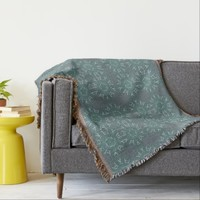 Grey Green With White Abstract Letters Blanket