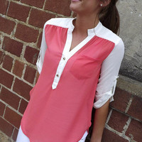 Stud Button Tunic in Coral | The Rage