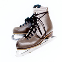 Vintage Ice Skates Rink Master England Youth 4 Brown Leather