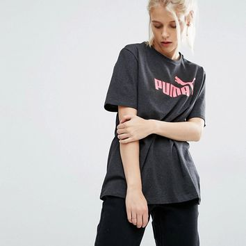Puma Oversized T-Shirt With Coral Logo at asos.com