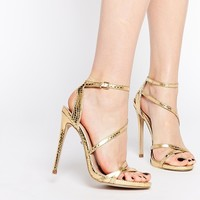 Carvela Georgia Gold Strappy Barely There Sandals