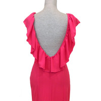 Kiss The Sky Open Back Ruffle Dress - Pink
