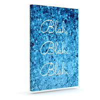 "Ebi Emporium ""Blah Blah Blah""  Blue Glitter Outdoor Canvas Wall Art"
